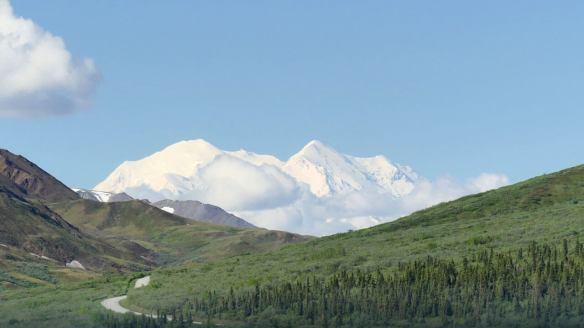 Denali, previously  Mount McKinley, seen from the Denali Shuttle Bus