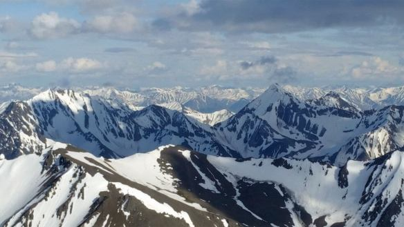 Aerial view of the snow-covered peaks of the Alaska Range in Denali National Park.