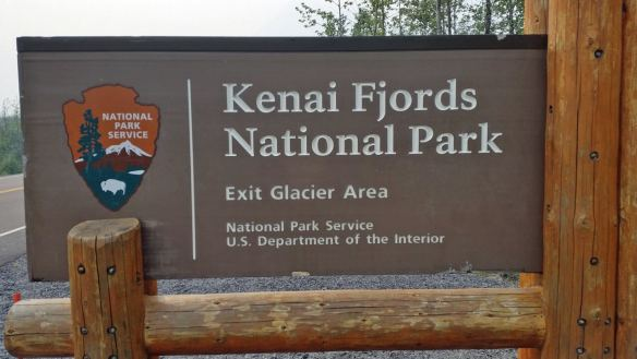 Sign for Kenai Fjords National Park, near Seward, AK