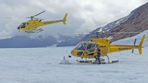 Alaska dog mushing encounter - Helicopters used to access the summer-time dog camp