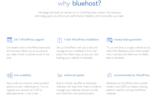 Web hosting features - BlueHost