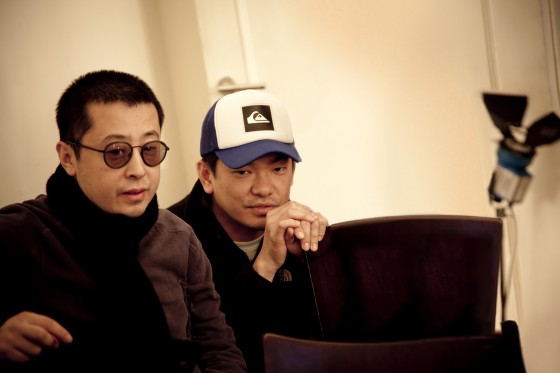 Director Jia Zhang Ke and BBH China ECD Johnny Tan on the set of 'Yulu'