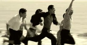 "Taiwan's TC Bank television commercial ""Dream Rangers"": The group of friends running on the beach when they were young 60 years ago."