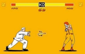 KFC's Colonel Sanders throws a chicken at Ronald McDonald.