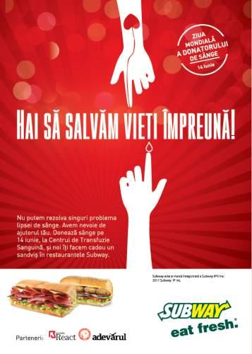 """Subway marchează Ziua Mondială a Donatorului de Sânge, prin campania națională """"Hai să salvăm vieți împreună"""""""