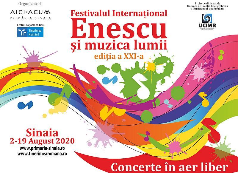 """Festivalul Internațional """"Enescu și muzica lumii"""" 2 şi 19 august 2020 la Sinaia"""