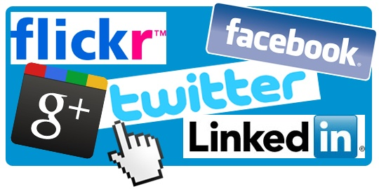 Facebook, Twitter, Flickr, LinkedIn, G+