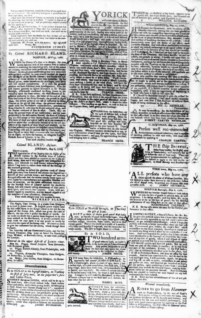 Jun 1 - 5:30:1766 Virginia Gazette