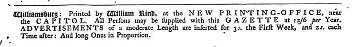 May 16 - Colophon 5:16:1766 Rind's Virginia Gazette