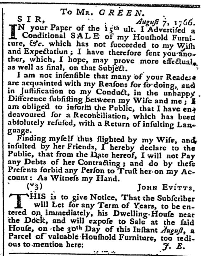 Aug 28 - 8:28:1766 Maryland Gazette