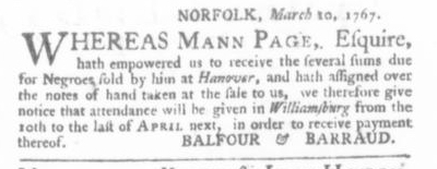 Mar 12 - Virginia Gazette (Purdie & Dixon) Slavery 1