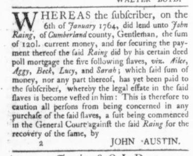 Mar 12 - Virginia Gazette (Purdie & Dixon) Slavery 2