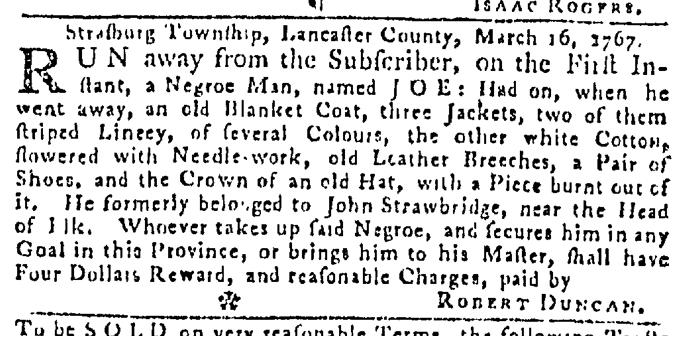 Mar 26 - Pennsylvania Gazette Slavery 1