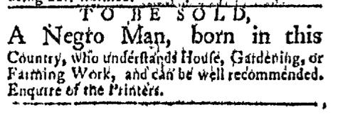 Mar 30 - Boston Evening-Post Slavery 1