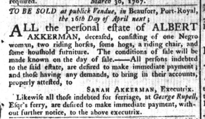 Mar 31 - South-Carolina Gazette and Country Journal Slavery 4