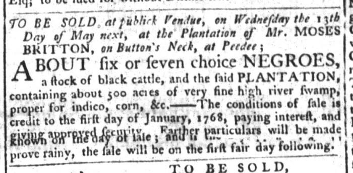 Apr 14 - South-Carolina Gazette and Country Journal Slavery 3