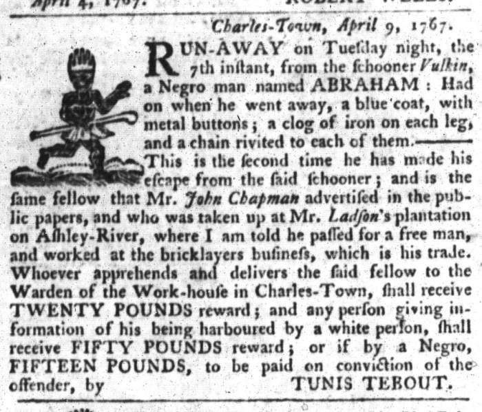 Apr 21 - South-Carolina Gazette and Country Journal Slavery 10