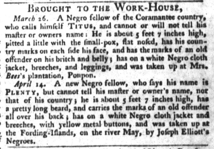 Apr 21 - South-Carolina Gazette and Country Journal Slavery 7