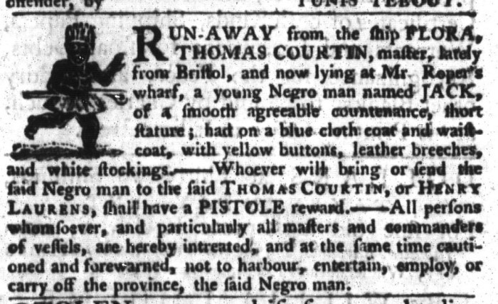 Apr 28 - South-Carolina Gazette and Country Journal Supplement Slavery 8