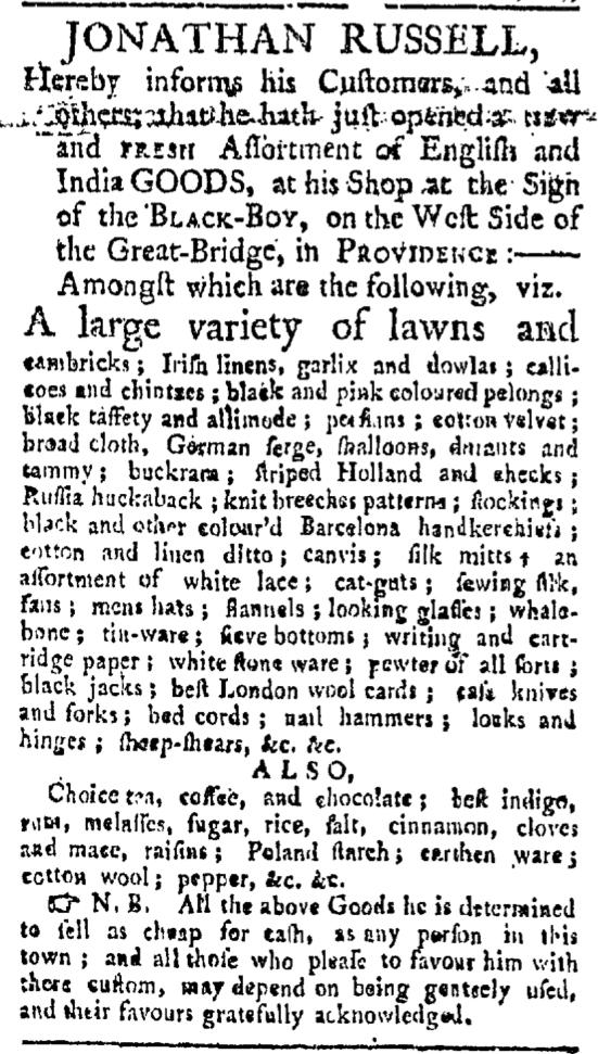 Jun 6 - Providence Gazette Slavery 1