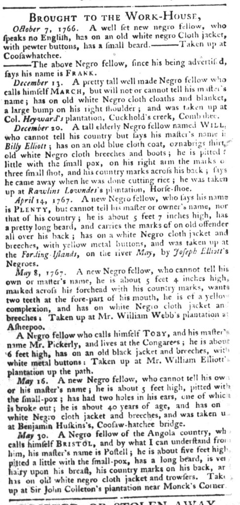 Jun 9 - South-Carolina Gazette and Country Journal Supplement Slavery 11