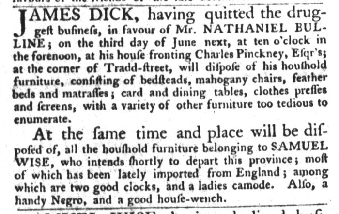 Jun 9 - South-Carolina Gazette and Country Journal Supplement Slavery 9