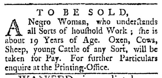 May 2 - Providence Gazette Slavery 1