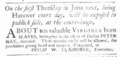 May 21 - Virginia Gazette Slavery 2