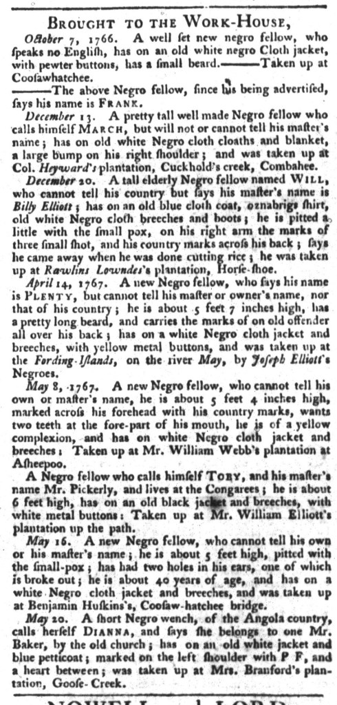 May 26 - South-Carolina Gazette and Country Journal Supplement Slavery 5