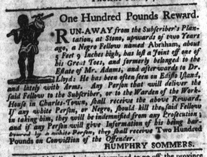 May 5 - South-Carolina Gazette and Country Journal Slavery 1