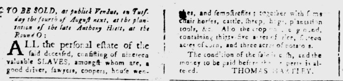Jul 17 - South-Carolina and American General Gazette Slavery 6