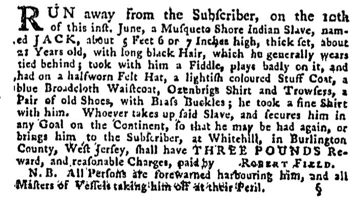 Jul 2 - Pennsylvania Gazette Supplement Slavery 1
