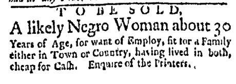 Jul 20 - Boston Evening-Post Slavery 1