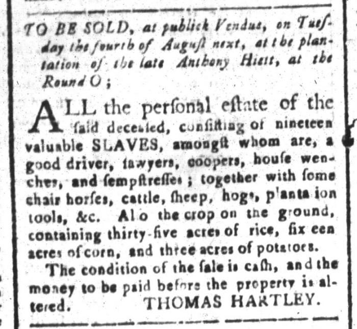 Jul 3 - South-Carolina and American General Gazette Slavery 1