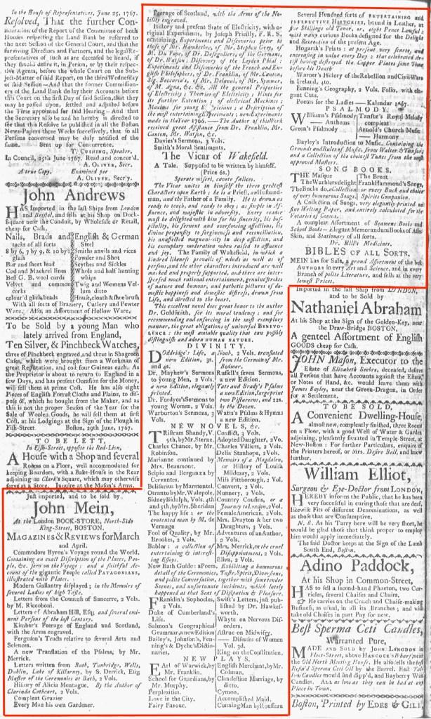 Jul 6 - 7:6:1767 Boston-Gazette