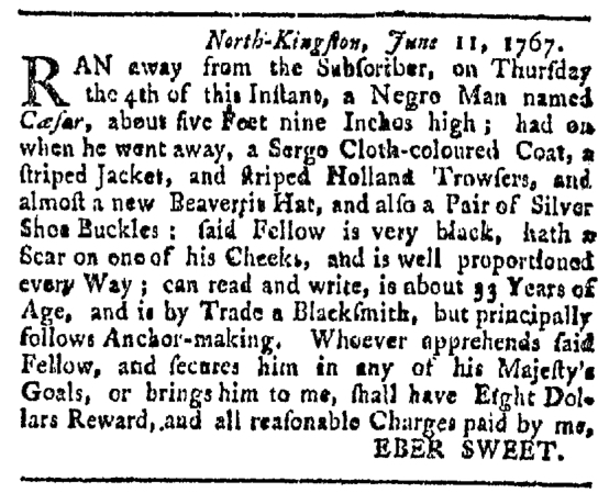 Jun 27 - Providence Gazette Slavery 1