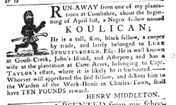 Aug 4 - South-Carolina Gazette and Country Journal Slavery 8