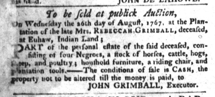 Aug 4 - South-Carolina Gazette and Country Journal Supplement Slavery 4