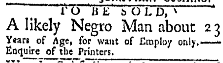 Jul 27 - Boston Evening-Post Slavery 1