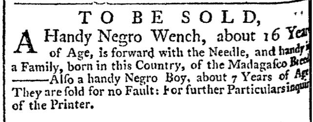 Jul 30 - New-York Gazette Weekly Post-Boy Slavery 1