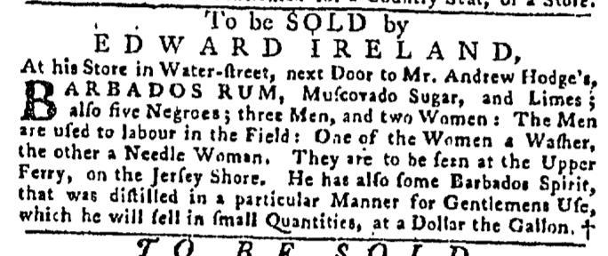 Aug 13 - Pennsylvania Gazette Slavery 1