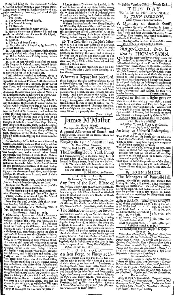 Aug 17 - 8:17:1767 Page 3 of Boston Evening-Post
