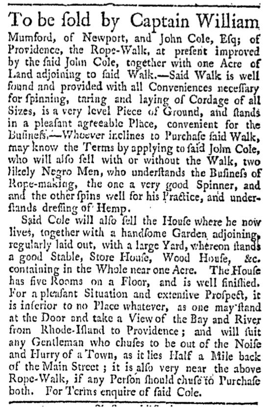 Aug 22 - Providence Gazette Slavery 2