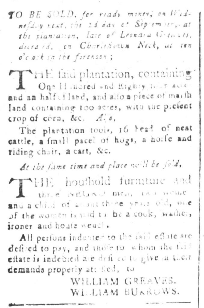 Aug 28 - South-Carolina and American General Gazette Slavery 6