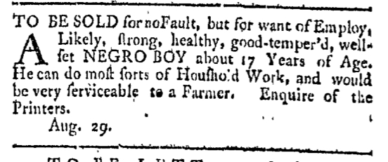 Aug 29 - Providence Gazette Slavery 1