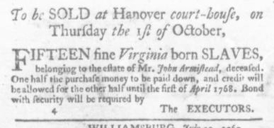 Aug 6 - Virginia Gazette Slavery 1