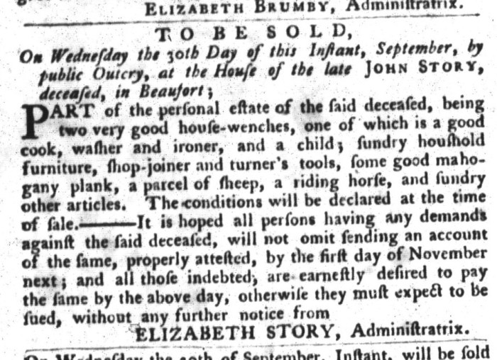 Sep 15 - South-Carolina Gazette and Country Journal Slavery 5