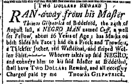 Sep 18 - New-Hampshire Gazette Slavery 1