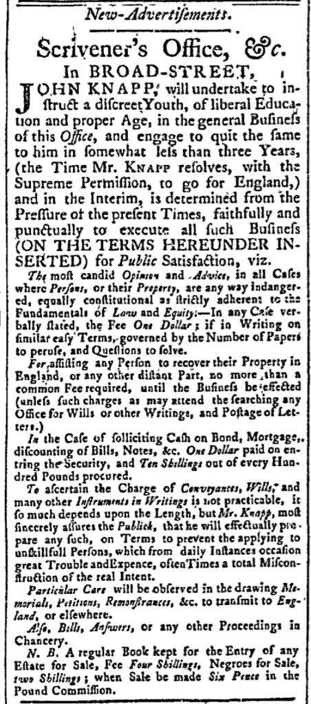 Sep 21 - New-York Gazette Slavery 1