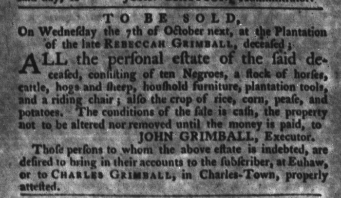 Sep 22 - South-Carolina Gazette and Country Journal Slavery 8